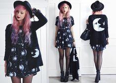 H&M Spike Fedora, She Inside Moon Cardigan, Motel Rocks Moon & Star Tiara Dress, Fashion Union Buckle Heels, Vivienne Westwood Bowling Bag