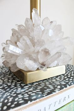 Dress up a plain brass lamp base with raw crystal points for a textural addition to any room in your home.