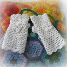 White cotton crochet fingerless gloves or wristies by Pollykrafts