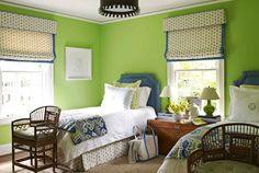 girl's rooms - Benjamin Moore - Stem Green - blue green ikat bedding Granny Smith Apple green walls blue twin headboards nailhead trim trunk nightstand glossy green lamps