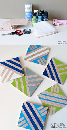 Anthropologie-Inspired Geometric Coasters at JustAGirlAndHerBl. Homemade Coasters, Diy Coasters, Diy Mothers Day Gifts, Diy Gifts, Diy Painting, Painting On Wood, Knock Off Decor, Idee Diy, Mother's Day Diy