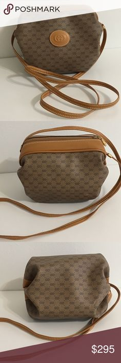 Gucci GG supreme Authentic Gucci GG Supreme shoulder bag. Very unique discontinued bag by Gucci. Classic pattern  with gold hardware. Made in Italy. Used in great condition. Lining inside is clean. One side pocket inside. Accepting reasonable offers.  Dimensions are: 8.2L x 6H x 6D. Smoke free home. Gucci Bags Crossbody Bags