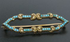 Antique Victorian 14k Solid Rose Gold Arabesque Cartouche Turquoise Bead Brooch