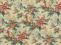 Brunschwig & Fils JASPER GARDEN RED/TEAL 8012105.193 - Brunschwig & Fils - Bethpage, NY, 8012105.193,Brunschwig & Fils,Print,Pink, Green, Red/Burgundy,Red, Green, Pink,Heavy Duty,S,SOFTENED,Up The Bolt,Le Jardin Chinois,France,Asian,Multipurpose,Yes,Brunschwig & Fils,No,Le Jardin Chinois,JASPER GARDEN RED/TEAL