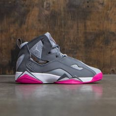 948339df2e14 Jordan Big Kids Girls  True Flight (GS) (cool grey   white-wolf grey-vivid  pink)