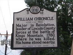 Battle of Kings Mountain - William Chronicle - North Carolina Historical Markers on Waymarking.com