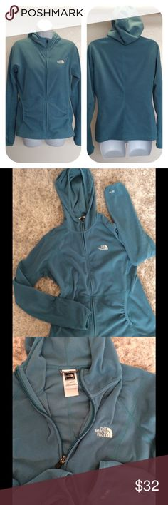 The North Face Zip-up Fleece Hoodie Color is turquoise.  Measures 20 inches flat armpit to armpit.  Thumb holes. Zipper works well.  In good used condition. The North Face Jackets & Coats