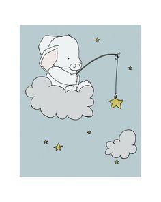 Elephant Star Fishing Elephant Nursery Art by SweetMelodyDesigns, $15.00