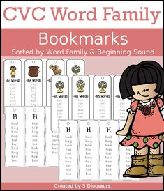 CVC Word Family Bookmarks, Beginning Sounds & Phonics Ladder  -  -ad, -ab, -ag, - am, -an, -ap, -ar, -at, -ax, -eb, -ed, -eg, -em, -en, -et, -ib, -id, -ig, -im, -in, -ip, -it, -ix, -ob, -od, -og, -om, -op, -ot, -ox, -ub, -ud, -ug, -um, -un, -up, -us, -ut, -ux; plus words by beginning sounds plus phonics ladder - $ - 3Dinosaurs.com