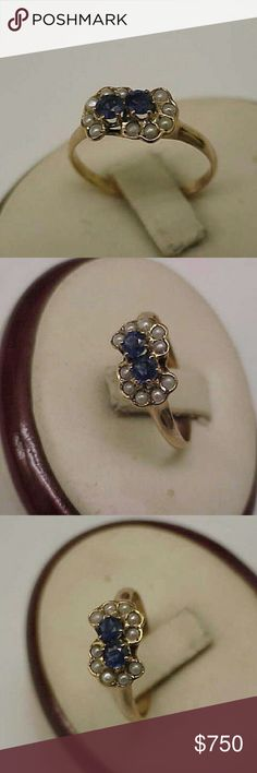 12k gold genuine sapphires seed pearl ring Victorian 12k yellow gold with 2 genuine blue sapphires 4mm each and 10 genuine seed pearls 1.8mm each.  Size 8. Weight 2gr. Tested with Mizar m24 tester gold positive for 12k. Jewelry Rings