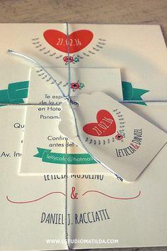 tarjetas de casamiento, con cordón y tag. #bodas #participaciones