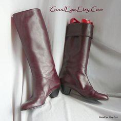 Vintage Oxblood VANELI Knee Boots ITALY / Leather size 8 m Eur