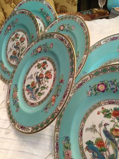 Vintage Plates/Wedgewood China /6 Dinner Plates/Bone China/Turquoise Border/Fine China/Dinner Party/China Dishes/Wedding Gift/Christmas Gift & Antique Plates/6 Dinner Plates/English/Hackwood Comp/NeoClassical ...