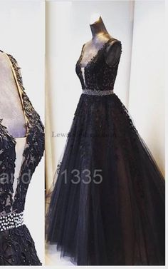V Neck Tulle Skirt Applique Lace Beaded Black Evening Dress 11335 Tyl d137e181267