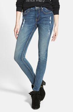 Free shipping and returns on Vigoss 'Dublin' Distressed Skinny Jeans (Medium Wash) at Nordstrom.com. Bright yellow topstitching adds eye-catching pop to distressed skinny jeans cut from lightly faded, medium-wash stretch denim.