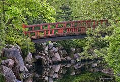 Red Bridge Over Creek Digital Art by Gerald Marella - Red Bridge Over Creek Fine Art Prints and Posters for Sale