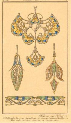 Original french engraving 1912 art nouveau jewelry - New Ideas Motifs Art Nouveau, Design Art Nouveau, Art Nouveau Pattern, Bijoux Art Nouveau, Art Nouveau Jewelry, Jewelry Art, Gold Jewellery, Silver Jewelry, Jewelry Design