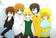 Left to right----- Eyeless Jack, Jeff, Ben, Masky, Hoodie. All of us before we went insane.