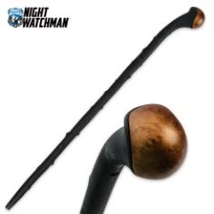 """Éirinn go Brách United Cutlery's """"Blackthorn Shillelagh"""" (fighting cane), traditional shillelagh walking stick design molded polypropylene construction impact-resistant faux wood cap measures overall Walking Sticks And Canes, Wooden Walking Sticks, Walking Canes, Blackthorn Walking Stick, United Cutlery, M48, Fantasy Sword, Camping World, Camping Gear"""