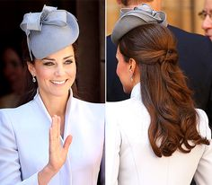 Half-Updo (With a Hat) Stepping out in her 2014 Easter bonnet in Australia, Middleton worked a half-up style, twisted from above the ear on each side and pulled to the back of the head to leave ample room for her lilac fascinator.