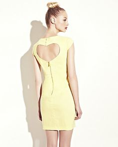 DRESS WITH HEART CUTOUT YELLOW