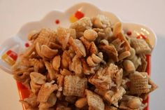 a chewy twist the standard Chex mix munchie Chex Mix Recipes, Fall Recipes, Great Recipes, Snack Recipes, Favorite Recipes, Cereal Mix, Chex Cereal, Halloween Movies, Halloween Fun