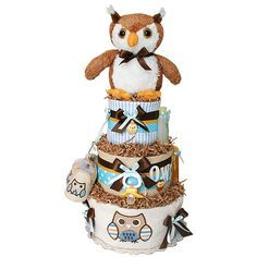 Diaper Cakes for Sale! The widest selection of baby shower diaper cakes Baby Shower Diapers, Baby Shower Cakes, Baby Boy Shower, Baby Shower Gifts, Baby Gifts, Baby Showers, Baby Cakes, Owl Diaper Cakes, Diaper Cake Boy