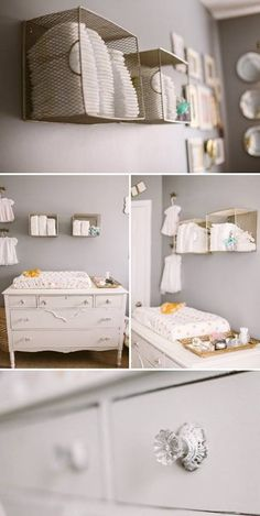Neutral nursery: LOVE the idea of hanging baskets on the wall for storage/art