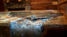 Concrete countertop with epoxy fiber optic river!