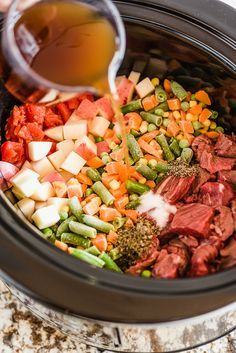 Just put all the ingredients in the crock, set the time and temperature, and when you get home, you can enjoy a hearty, healthy meal.