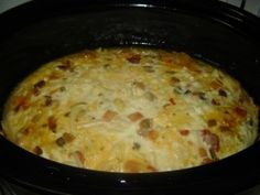 "Crock Pot Breakfast Casserole... Maybe go for ""Crockpot Denver Scramble"". Try Egg whites!"