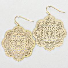 matte gold crochet lotus earrings