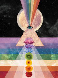 Flower Chakra Eye of Providence Poster – Cosmic Collage Psychedelic Art, Les Chakras, Chakra Art, Chakra Painting, Cosmic Art, Psy Art, Meditation Art, Mystique, Hippie Art