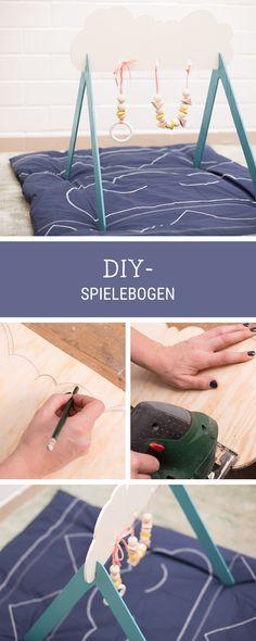 Spielzeug fürs Baby selbermachen: Spielebogen aus Holz bauen / baby diys: wooden mobile for newborns via DaWanda.com