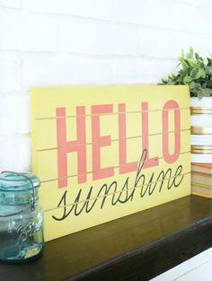 25 Spring Decor Ideas You Can DIY: DIY Hello Sunshine Sign