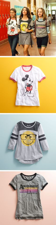 "On Wednesdays we wear tees. Featured product includes: Disney's Mickey Mouse ringer T-shirt, Mudd smiley-face football T-shirt and ""Awesome"" ringer T-shirt. Get set to head back to school at Kohl's."