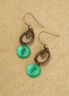 Emerald Green Earrings Antique Gold Dangles by SissoStudio on Etsy, $14.00