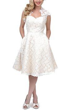 Dreamprom Embroidered Lace Tea Length Short Wedding Dress with Jacket for Women (Ivory, US18W) Dream Prom http://www.amazon.com/dp/B00UTDYPWC/ref=cm_sw_r_pi_dp_509zvb0EWQ0GH