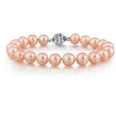 7-8mm Peach Freshwater Pearl Bracelet ($89) ❤ liked on Polyvore featuring jewelry, bracelets, peach, cultured pearl jewelry, 14k jewelry, 14k bangle, 14 karat gold jewelry and fresh water pearl jewelry
