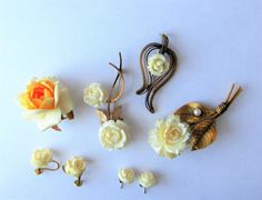 SOLD  $27.00  Antique/Vintage BONE FLOWER LOT-Gold Filled-Pins-Earrings by feathersoup on Etsy