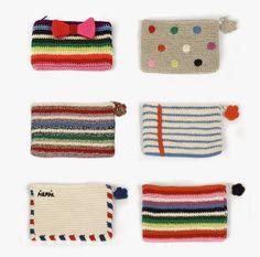 inspiration crochet pencil cases by Anne-Claire Petit Clutch En Crochet, Crochet Pencil Case, Crochet Phone Cases, Crochet Pouch, Crochet Purses, Crochet Gifts, Crochet Stitches, Crochet Patterns, Love Crochet