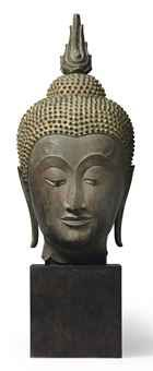 A bronze head of Buddha  Thailand, Ayutthaya, 15th/16th century  The face with…