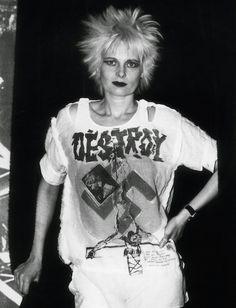 1970s vintage clothing-Vivienne Westwood in her Destroy t shirt