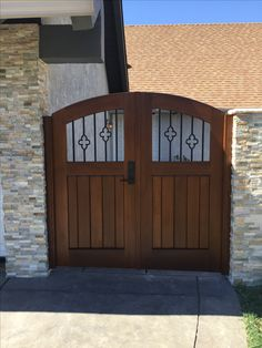 Custom Wood Double Gate by Garden Passages. Featuring Decorative Metal Picketing and Emtek Hardware. Garden Doors, Garden Gates, Double Gate, Decorative Metal, Craftsman Style, Custom Wood, Cottage Style, Hardware, Outdoor Decor