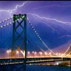 Lightning strikes over the Sanfrancisco Oakland Bay bridge.