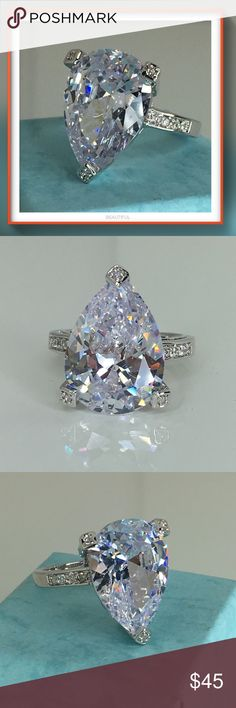 🔴SOLD🔴 Approx 22cts, this X-large pear cut Simulated diamond makes the ultimate engagement ring or can be worn as a cocktail ring. Pictures do not do this piece of jewelry Justice!!! It is incredibly gorgeous, the sparkle is absolutely brilliant. Do not miss out on this ring!! Size 8 🚫trades Jewelry Rings