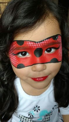 Ladybug Girl Face Painting, Painting For Kids, Body Painting, Face Painting Tutorials, Face Painting Designs, Maquillage Halloween, Halloween Makeup, Halloween Kids, Ladybug Face Paint