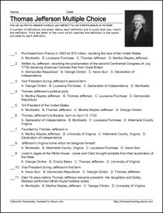 Thomas Jefferson Worksheets and Coloring Pages: Thomas Jefferson Challenge Worksheet