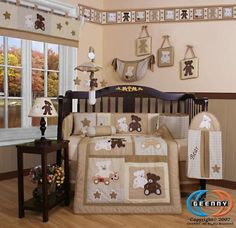 Teddy Bear 13PCS CRIB BEDDING SET By GEENNY Designs - For Lincoln's nursery with splashes of blue in it.