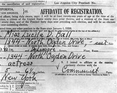 Lucille Ball was subpoenaed by the House Committee on Un-American Activities because she registered in 1936 at the insistence of her socialist grandfather.